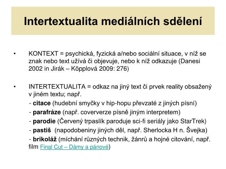 Intertextualita mediálních sdělení