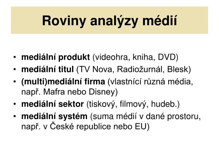 Roviny analýzy médií