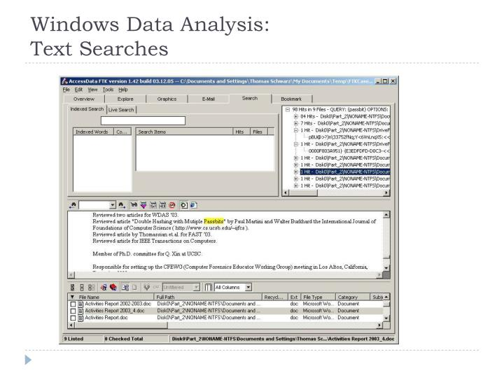 Windows Data Analysis: