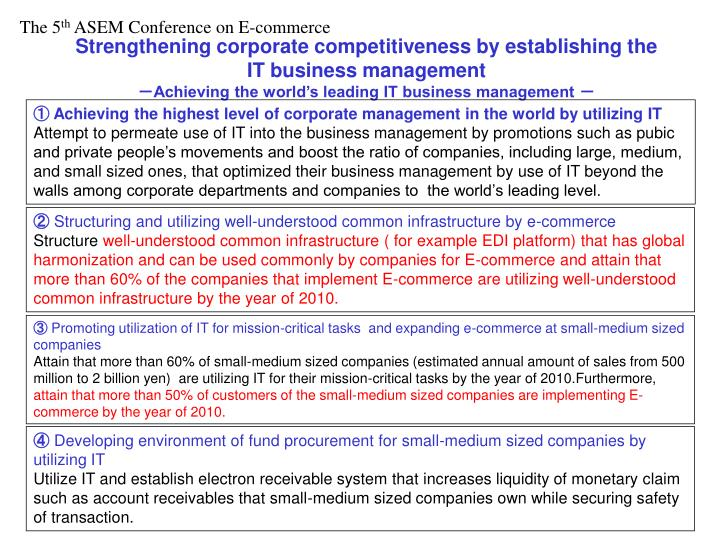 Strengthening corporate competitiveness by establishing the IT business management