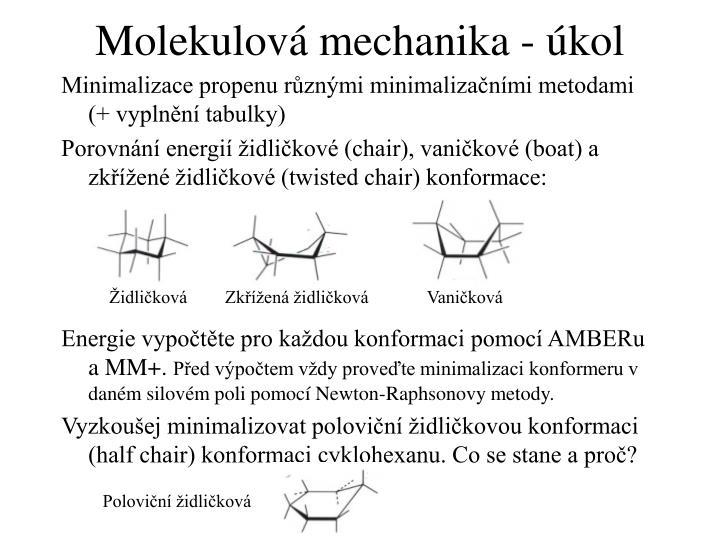 Molekulová mechanika - úkol