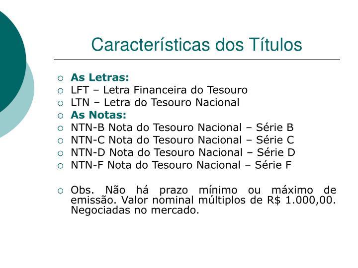 Características dos Títulos
