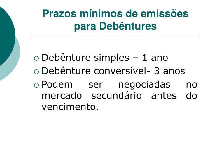 Prazos mínimos de emissões para Debêntures