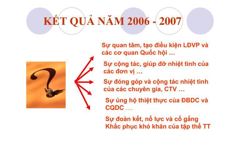 KẾT QUẢ NĂM 2006 - 2007