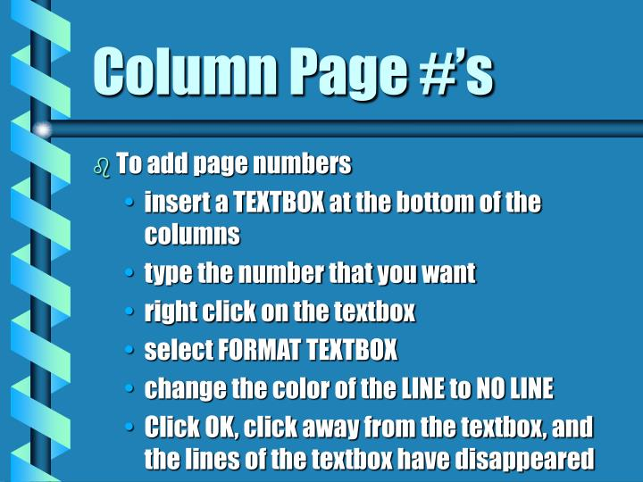 Column Page #'s