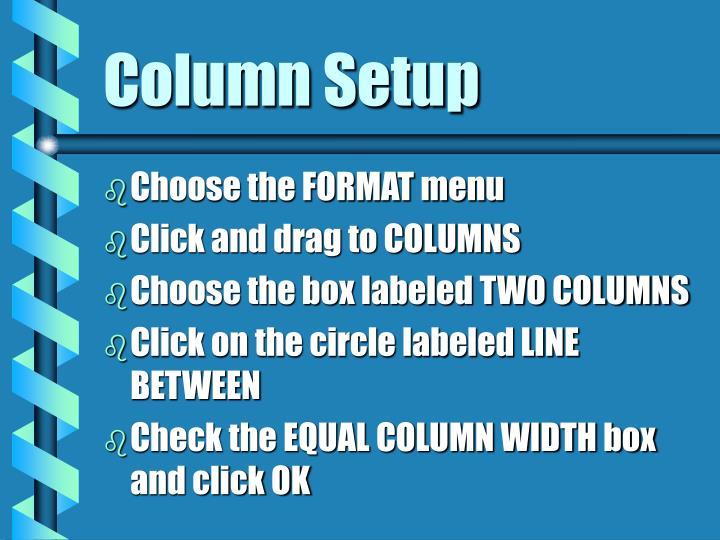 Column Setup