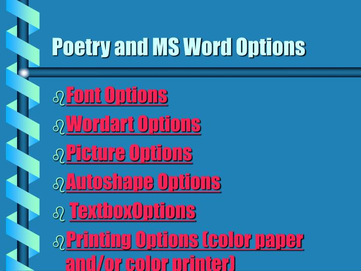 Poetry and MS Word Options