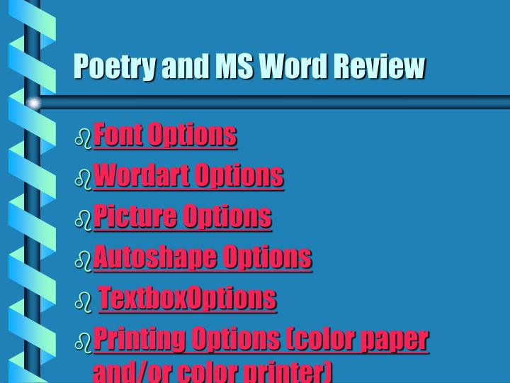 Poetry and MS Word Review