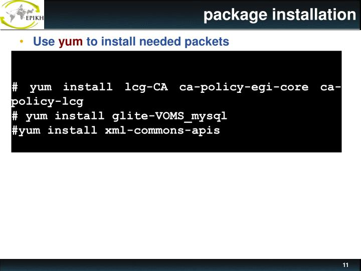 package installation