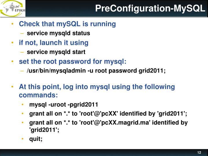 PreConfiguration-MySQL