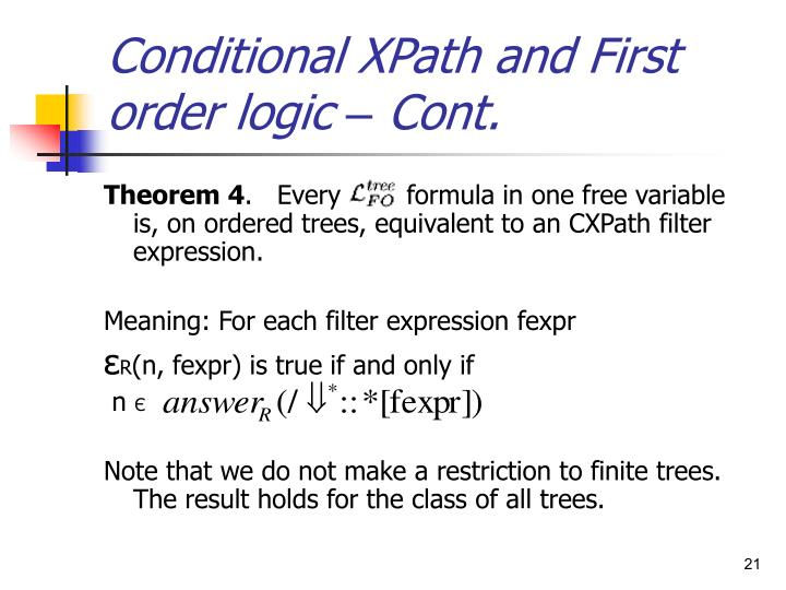 Conditional XPath and First order logic