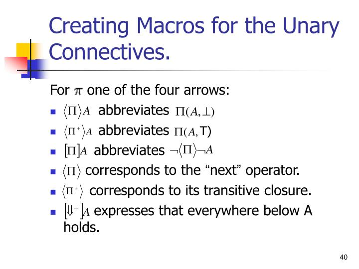 Creating Macros for the Unary Connectives.