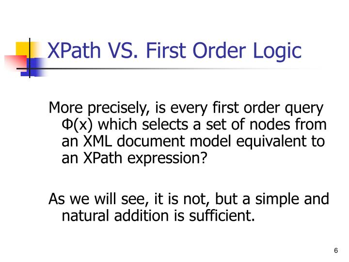 XPath VS. First Order Logic