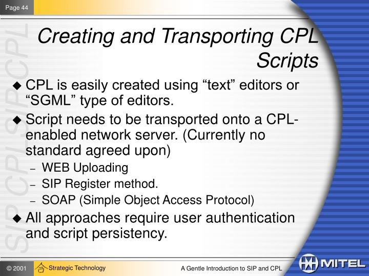 Creating and Transporting CPL Scripts