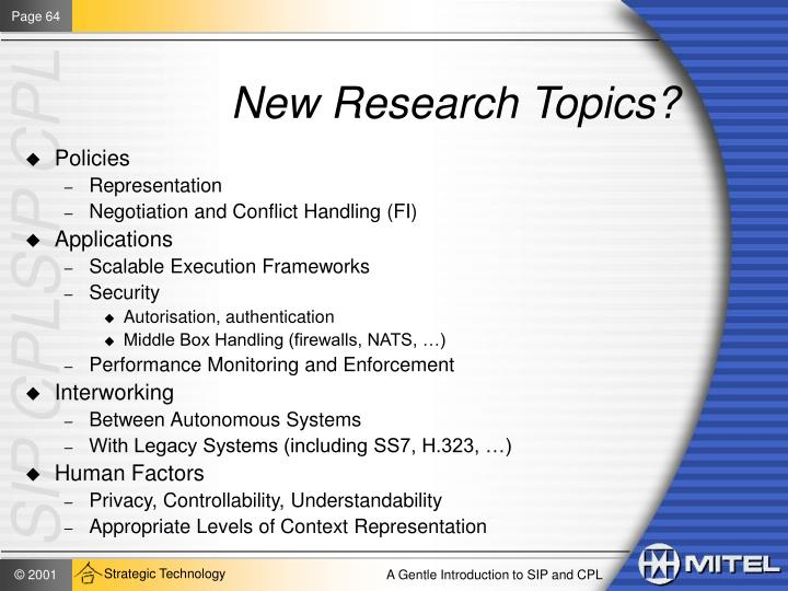New Research Topics?
