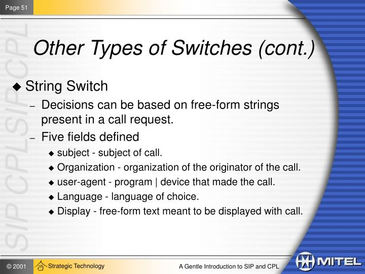 Other Types of Switches (cont.)