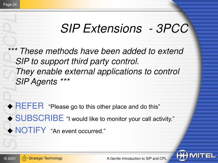 SIP Extensions  - 3PCC