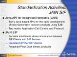 standardization activities jain sip