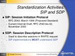 standardization activities sip and sdp