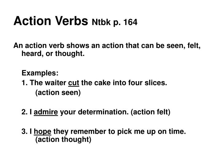 Action verbs ntbk p 164