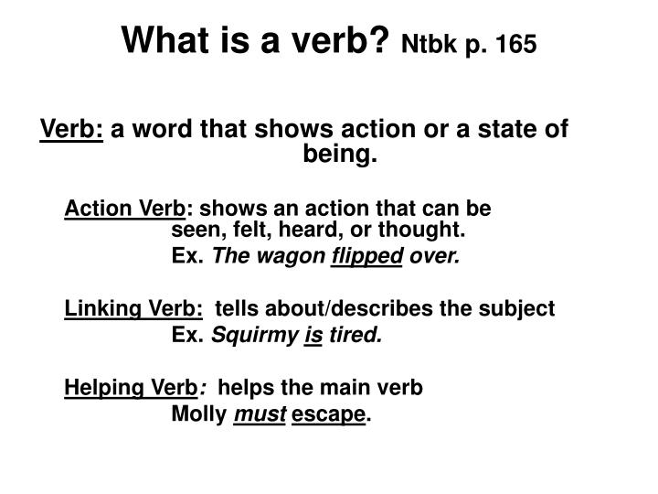 What is a verb ntbk p 165