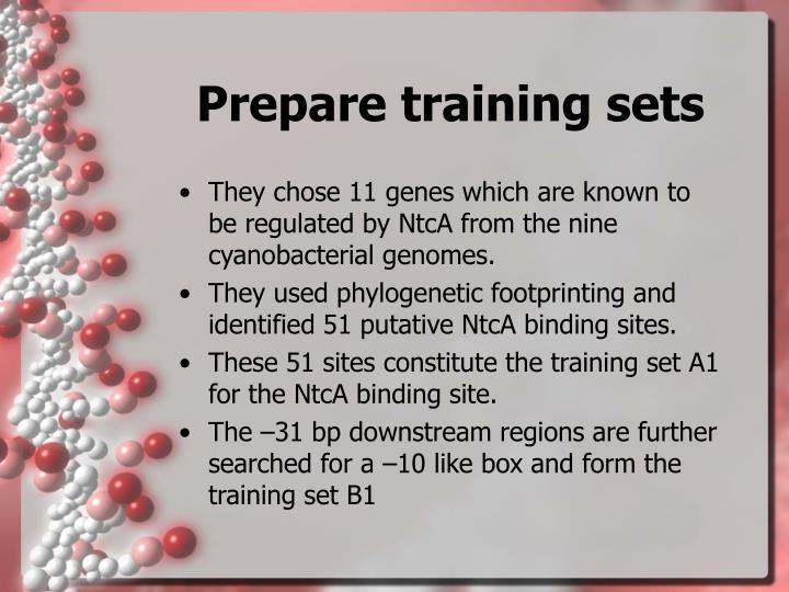 Prepare training sets