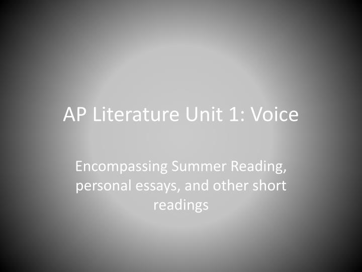Ap literature unit 1 voice