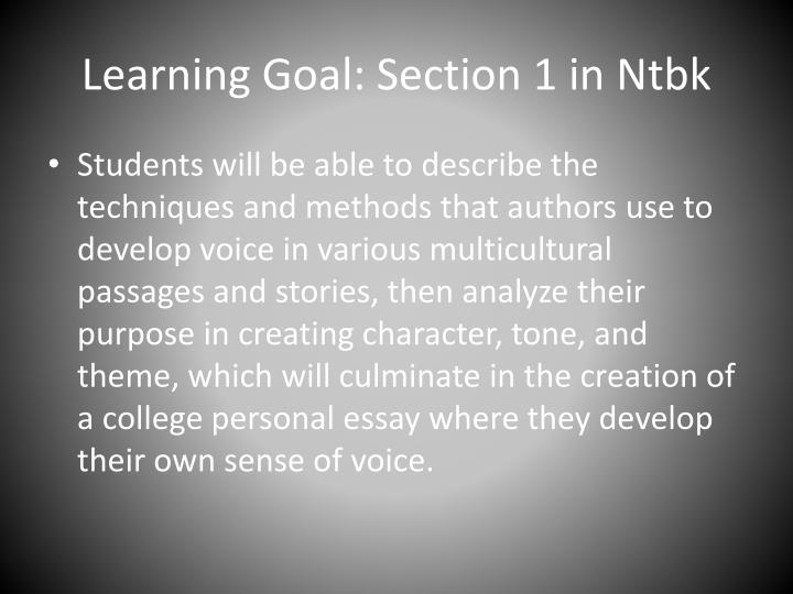 Learning goal section 1 in ntbk