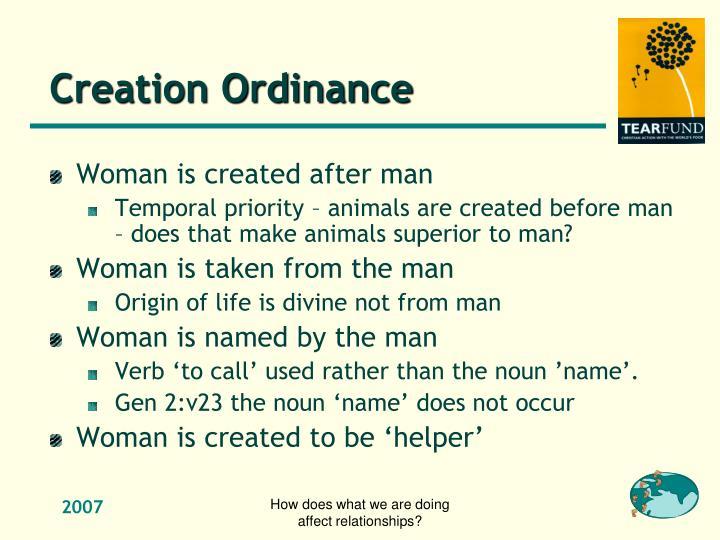 Creation Ordinance