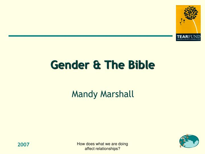 Gender & The Bible