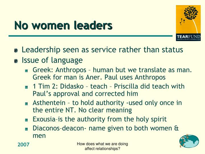 No women leaders