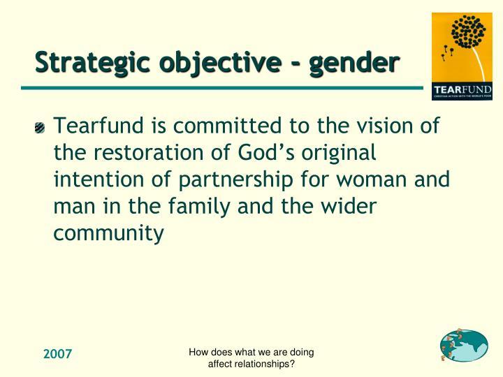Strategic objective - gender