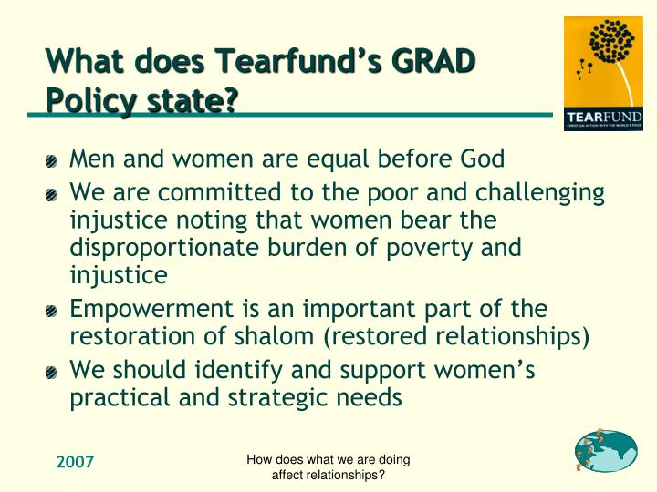 What does Tearfund's GRAD Policy state?