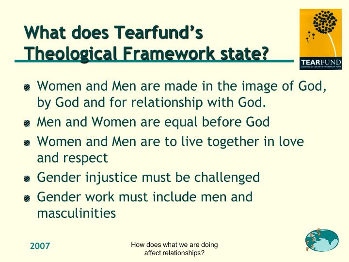 What does Tearfund's Theological Framework state?