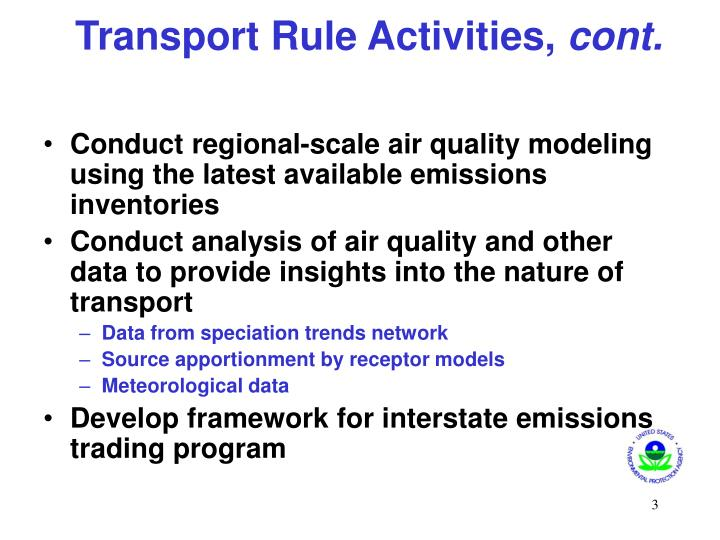 Transport Rule Activities,