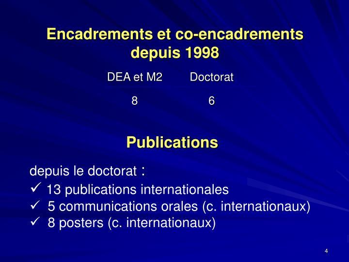 Encadrements et co-encadrements  depuis 1998