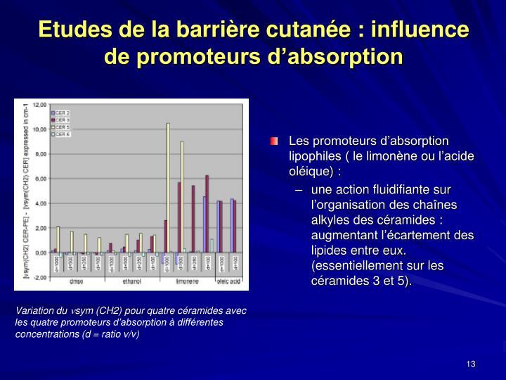 Etudes de la barrière cutanée : influence de promoteurs d'absorption