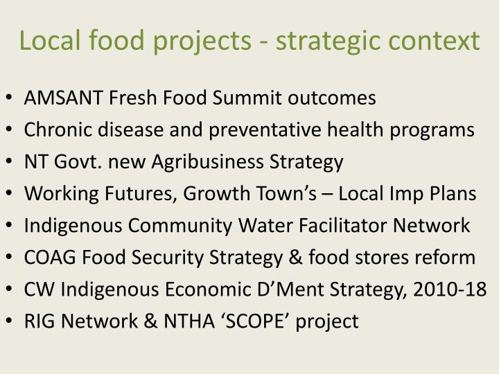 Local food projects - strategic context
