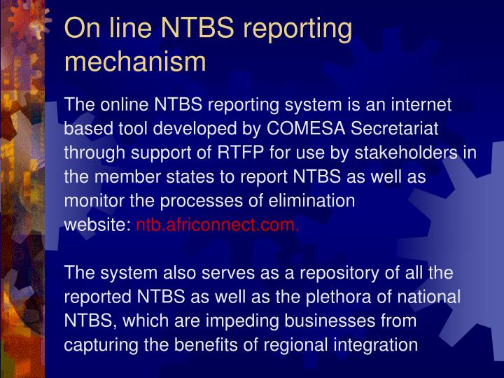 On line NTBS reporting mechanism