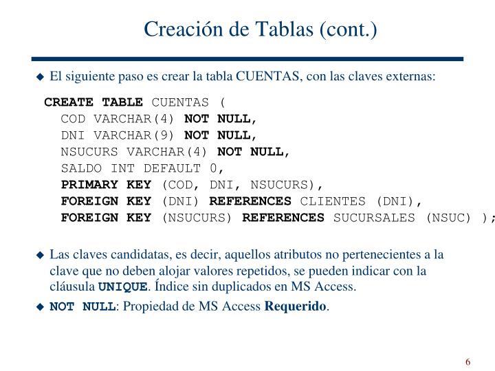 Creación de Tablas (cont.)