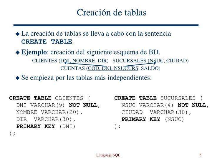 Creación de tablas