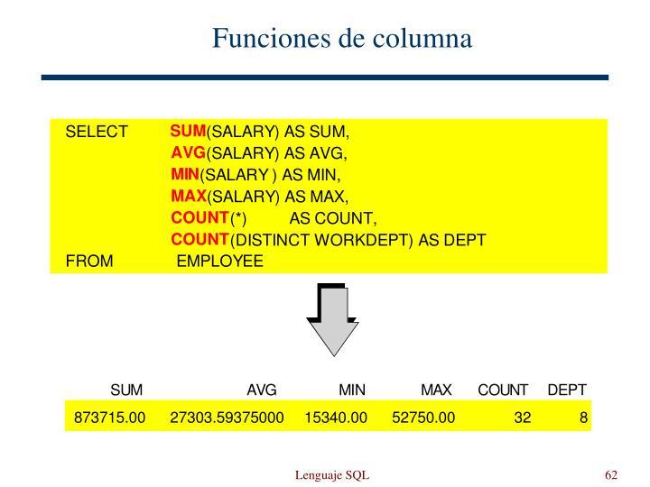 Funciones de columna