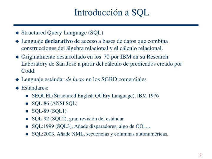 Introducción a SQL