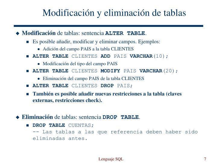 Modificación y eliminación de tablas