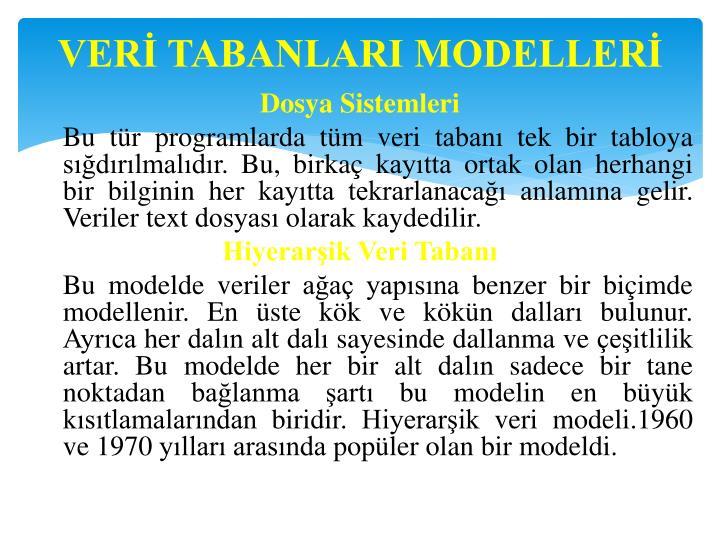 VERİ TABANLARI MODELLERİ