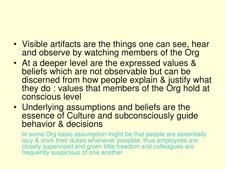 Visible artifacts are the things one can see, hear and observe by watching members of the Org