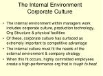 the internal environment corporate culture