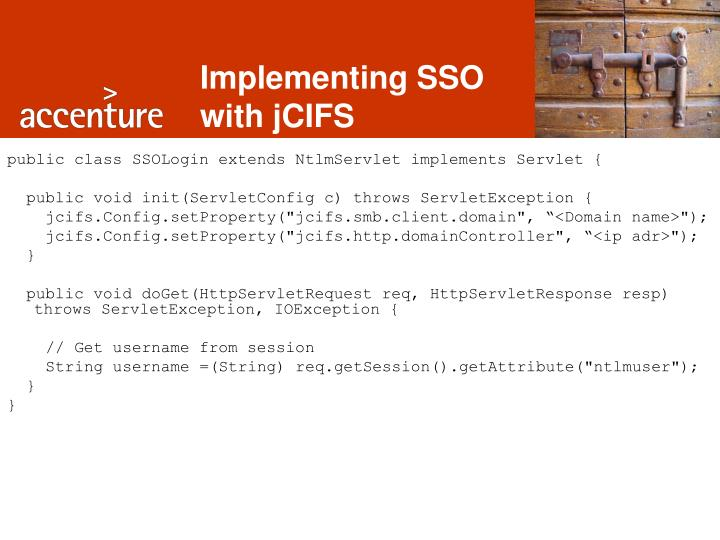 Implementing SSO with jCIFS
