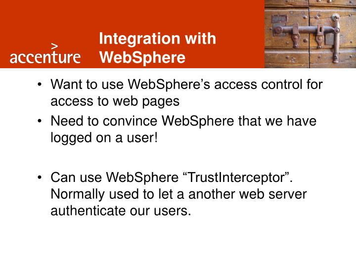 Integration with WebSphere