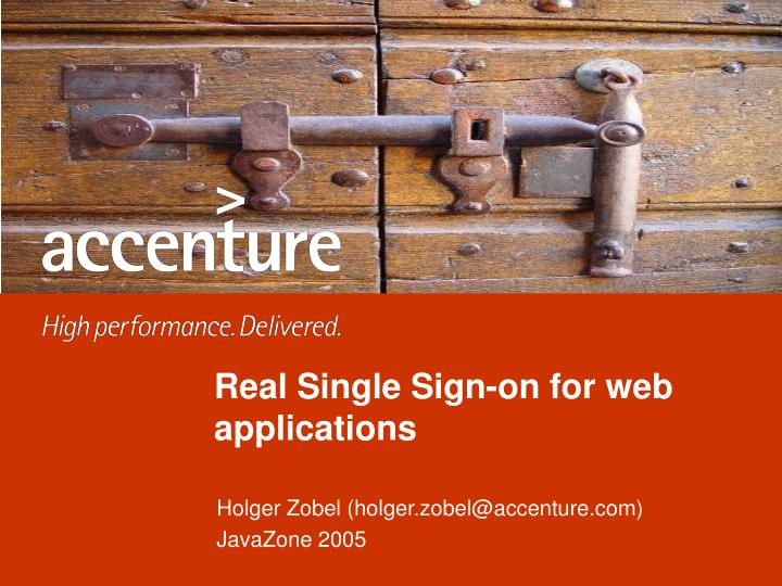 Real single sign on for web applications